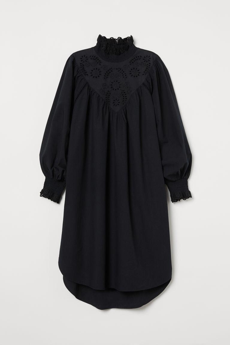 H & M - 刺繡長衫 - 黑色