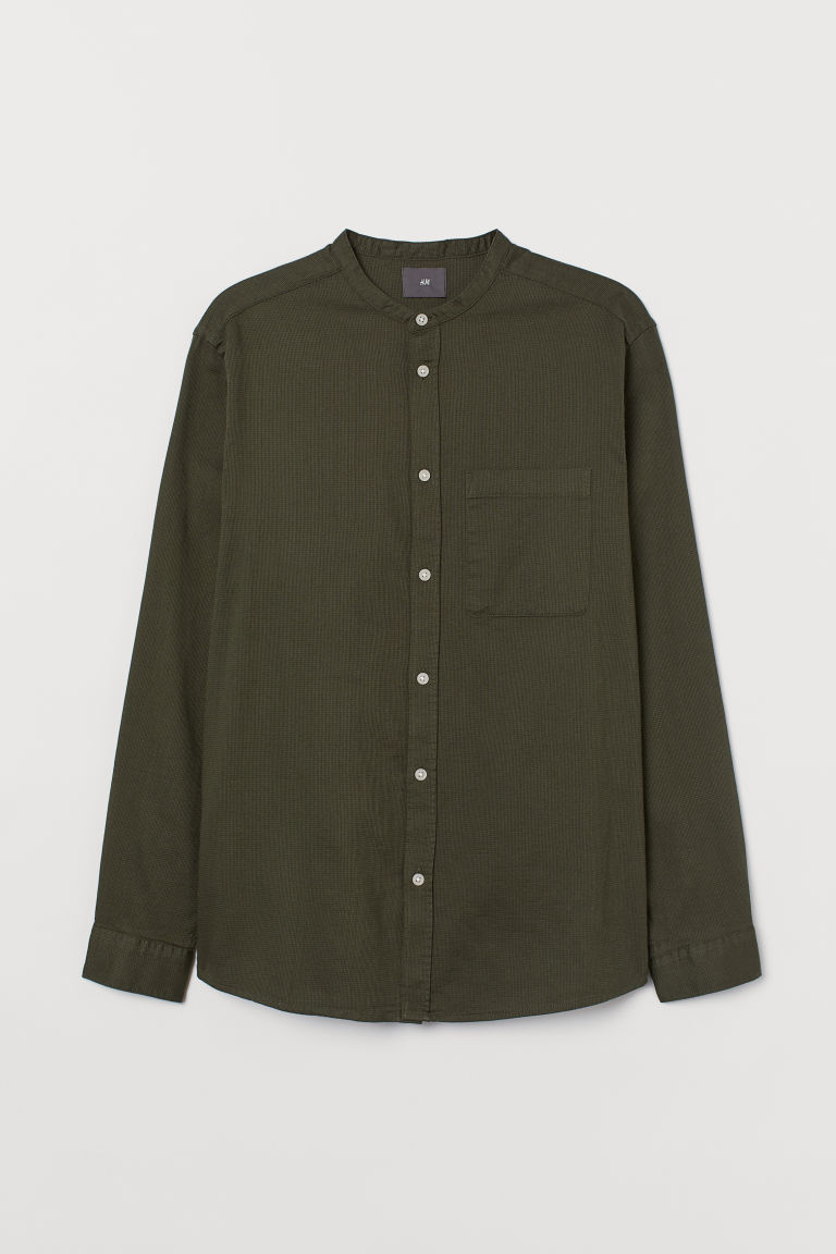 H & M - 標準剪裁祖父領襯衫 - 綠色