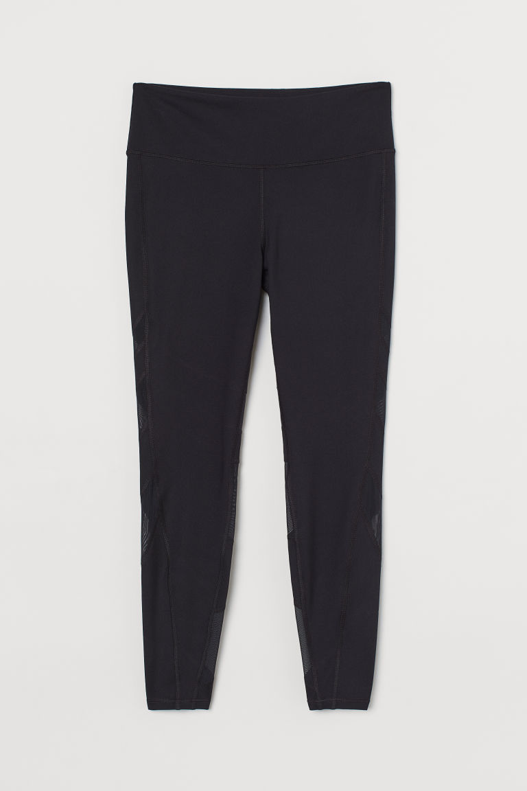 H & M - H & M+ 高腰緊身運動褲 - 黑色