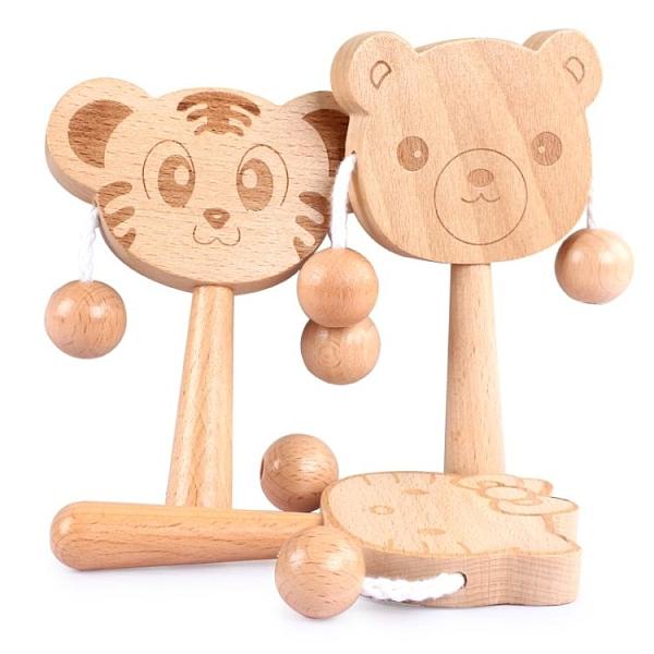 撥浪鼓可啃咬嬰兒益智玩具6-9-12個月男女孩1歲寶寶木質搖鼓 伊衫風尚