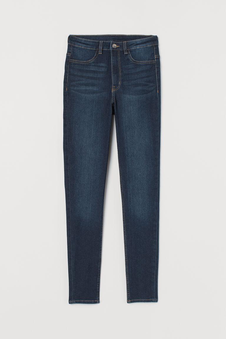 H & M - 超窄管高腰牛仔褲 - 藍色