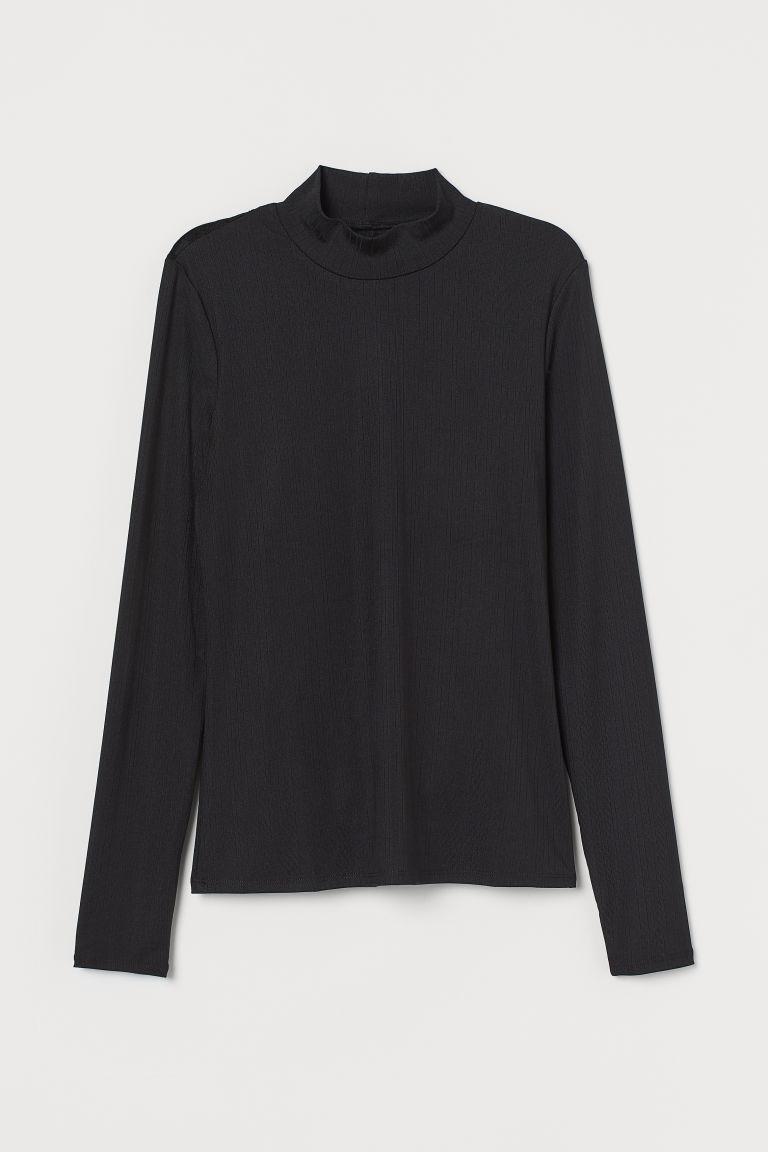 H & M - 蕾絲美背上衣 - 黑色
