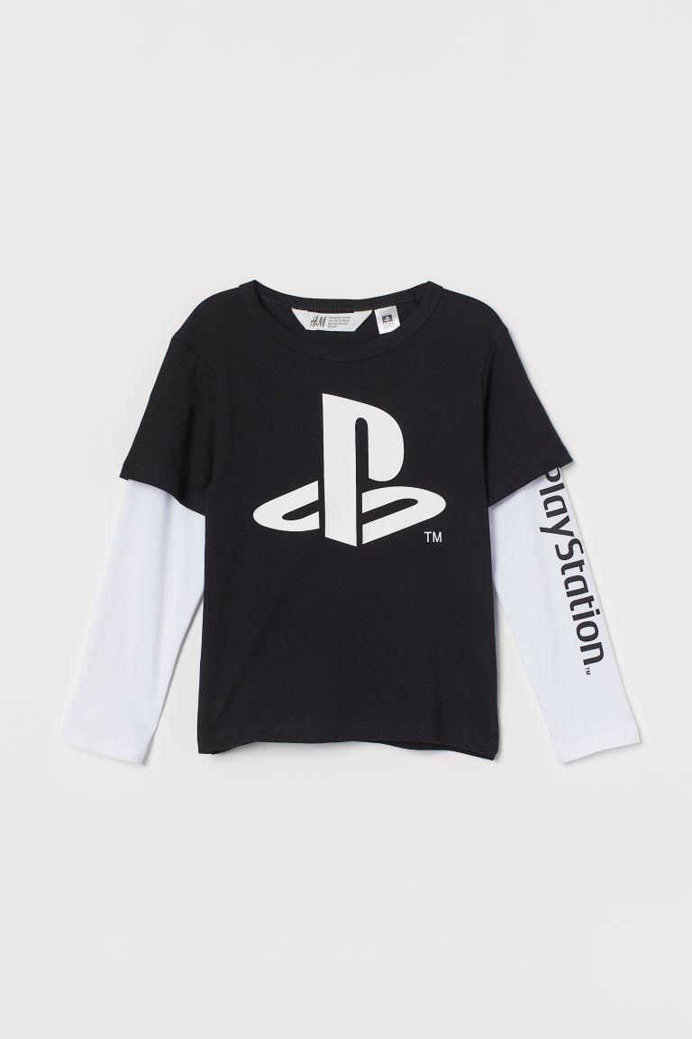 H & M - 圖案平紋上衣 - 黑色
