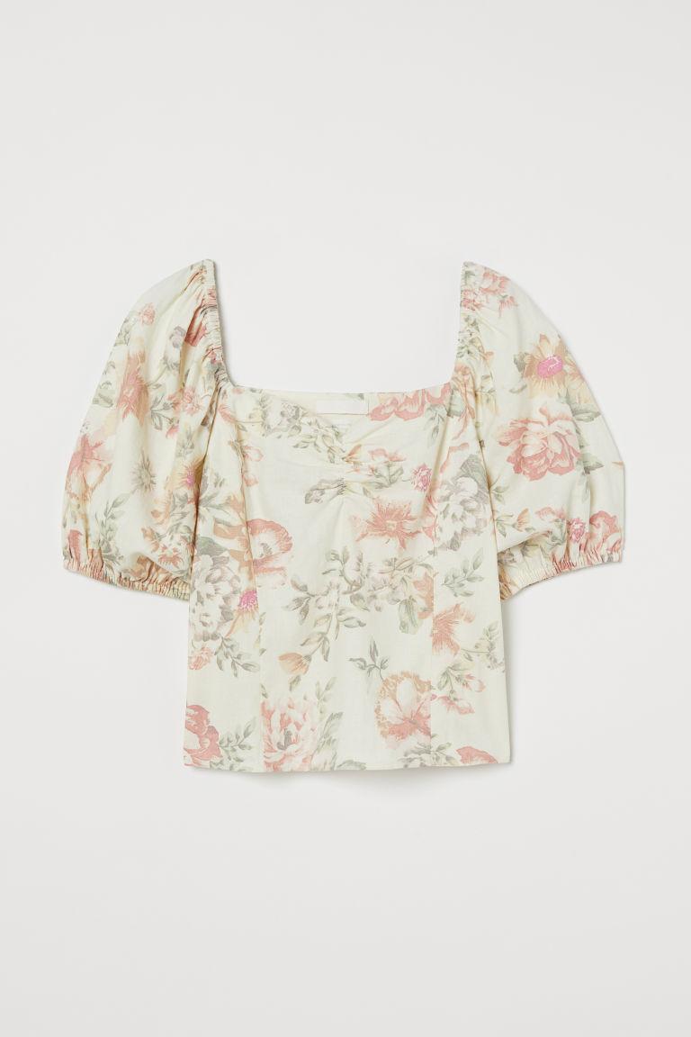 H & M - 亞麻混紡上衣 - 白色