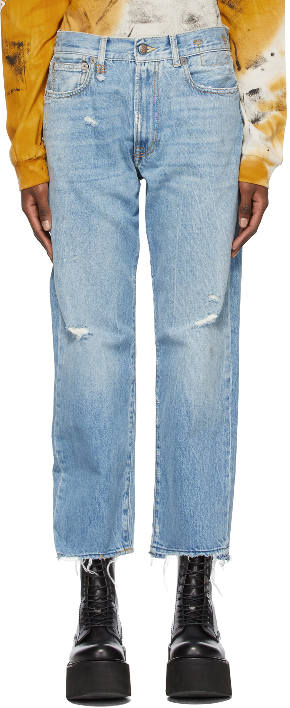 R13 蓝色 Boyfriend 牛仔裤