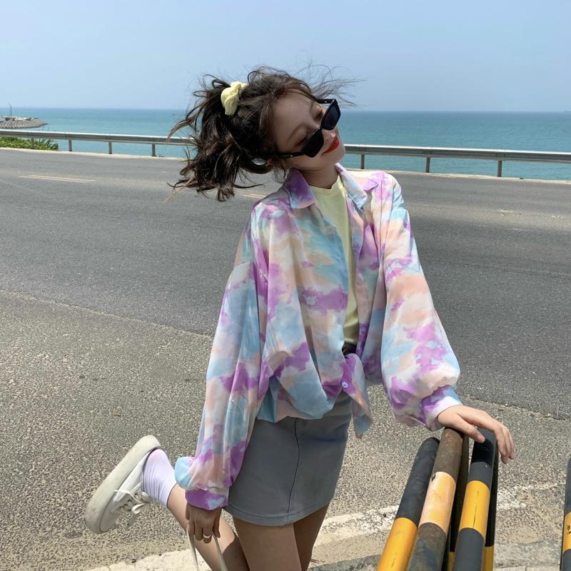 長袖襯衫 178827新款夏季版寬松扎染防曬衫設計感小眾上衣氣質襯衣