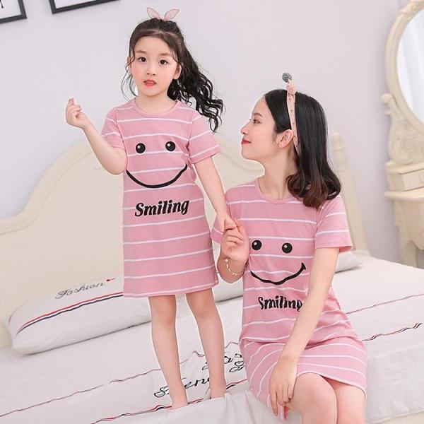 兒童睡裙短袖夏季女童裝純棉親子寶寶薄款公主裙小女孩睡衣家居服 童趣屋 618狂歡