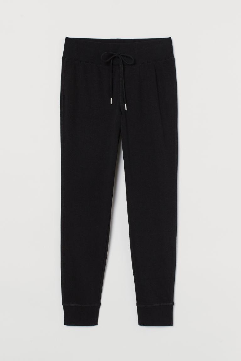 H & M - 棉質混紡慢跑褲 - 黑色
