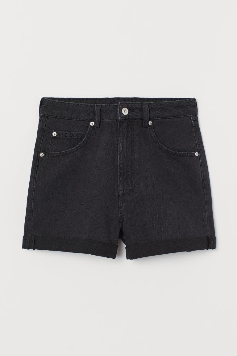 H & M - 老媽丹寧短褲 - 黑色