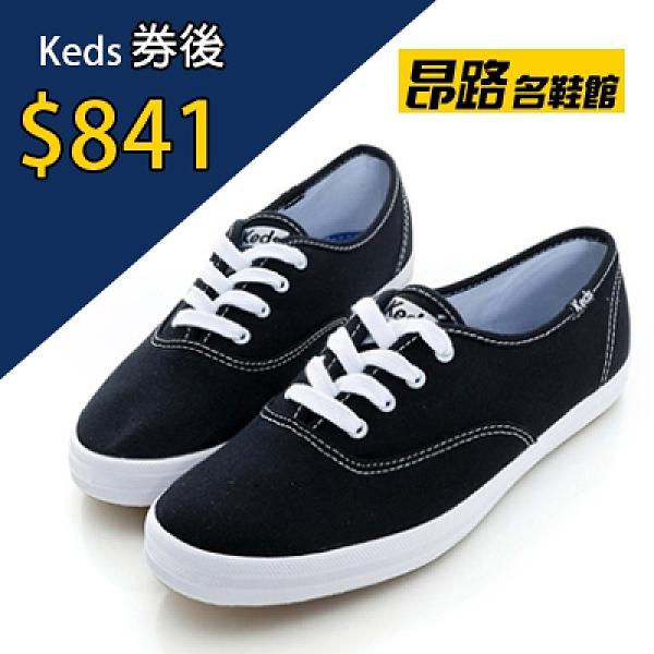 KEDS 品牌經典帆布鞋 黑色 W110001 女鞋 綁帶│平底