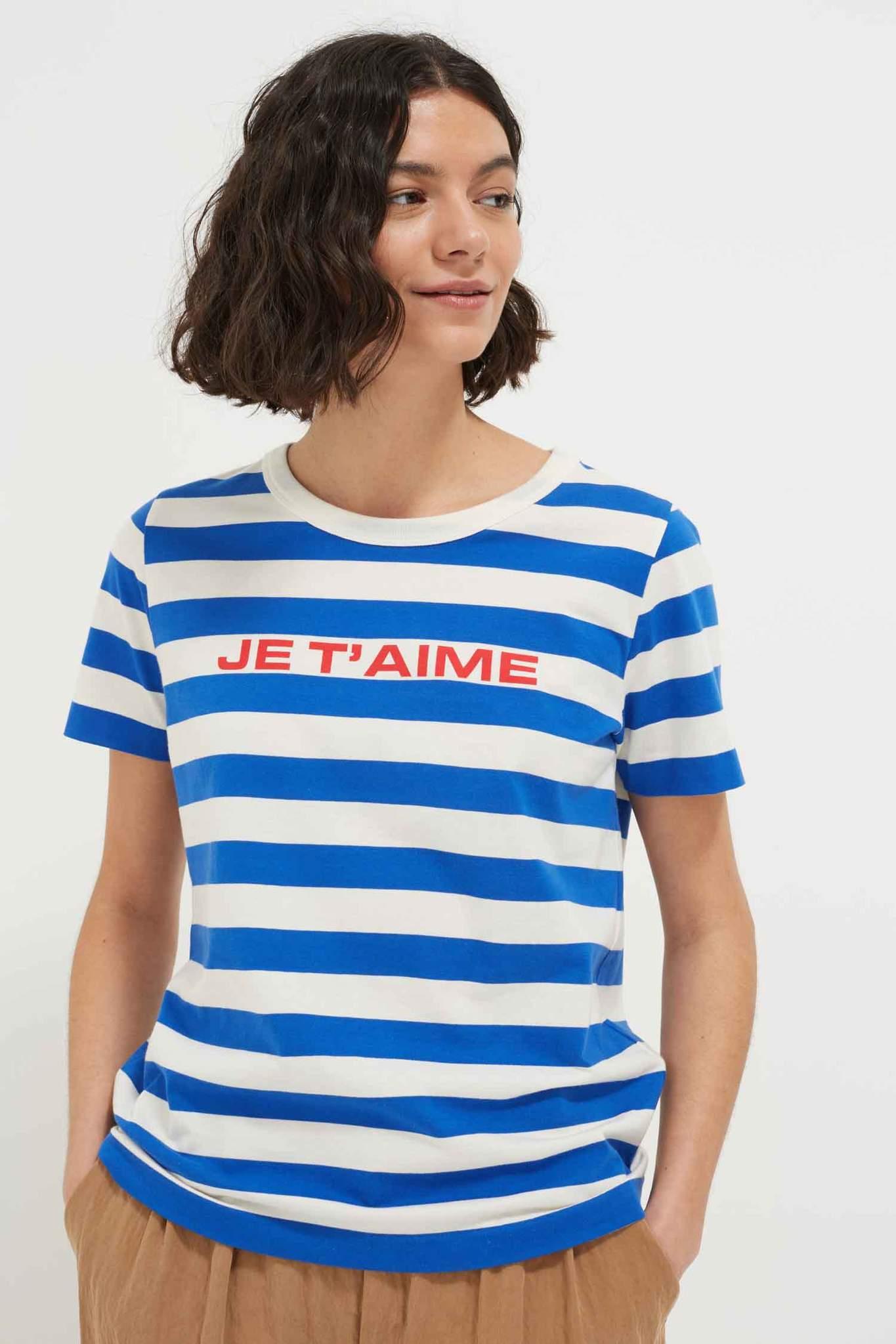 Blue Stripe Je T'aime Cotton-Jersey T-Shirt