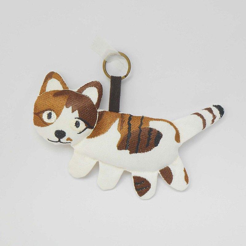 刺繡 玩偶 鑰匙圈10-三花貓 咪咪