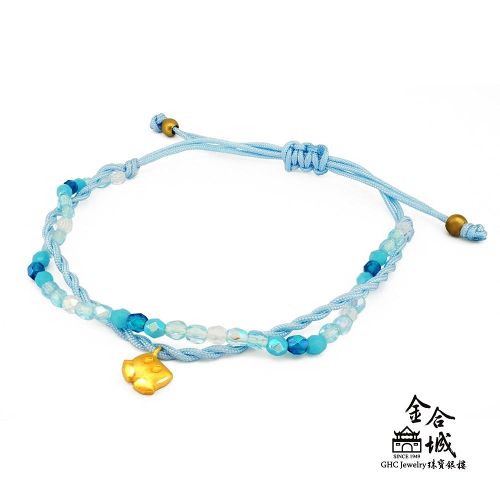 【迪士尼金飾】米奇褲子編織手環(金重約0.16錢)