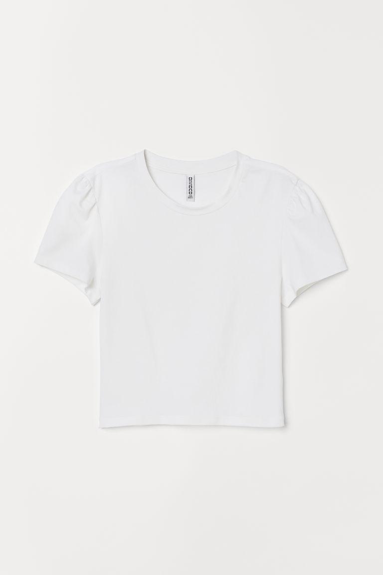 H & M - 公主袖平紋上衣 - 白色