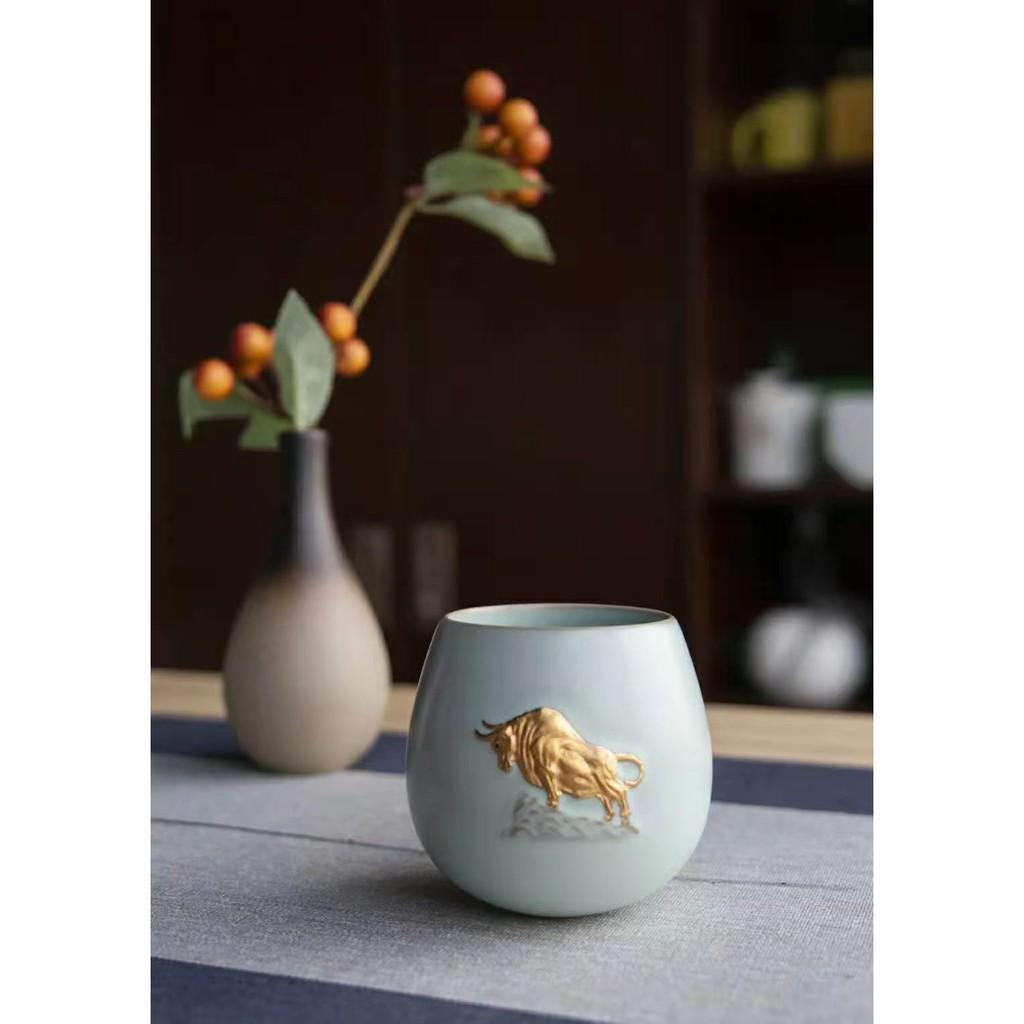 恒福東道汝窯牛年生肖限量個人杯金牛傳家限量收藏杯大容量主人杯