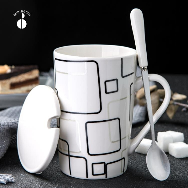 創意陶瓷杯子簡約水杯家用大容量馬克杯帶蓋勺個性潮流咖啡杯茶杯【快速出貨】