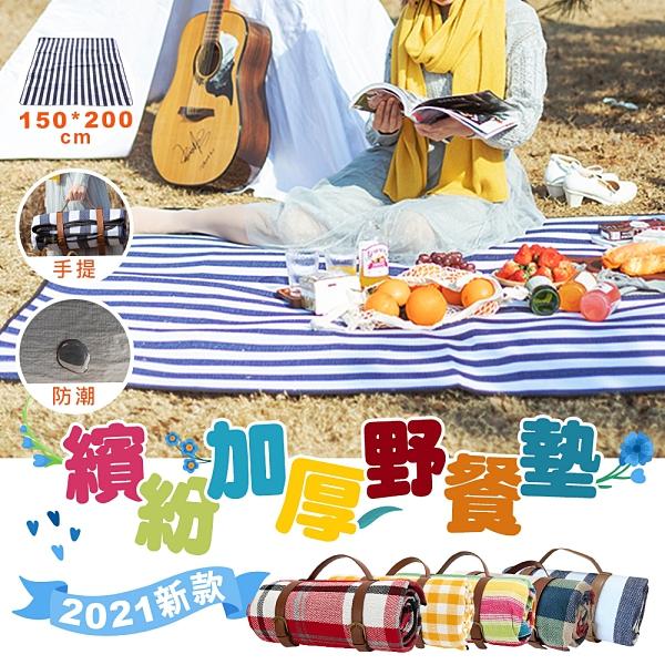 2021新款加厚繽紛野餐墊 加厚 舒適 方便攜帶 提把 手提 好收納 野餐布
