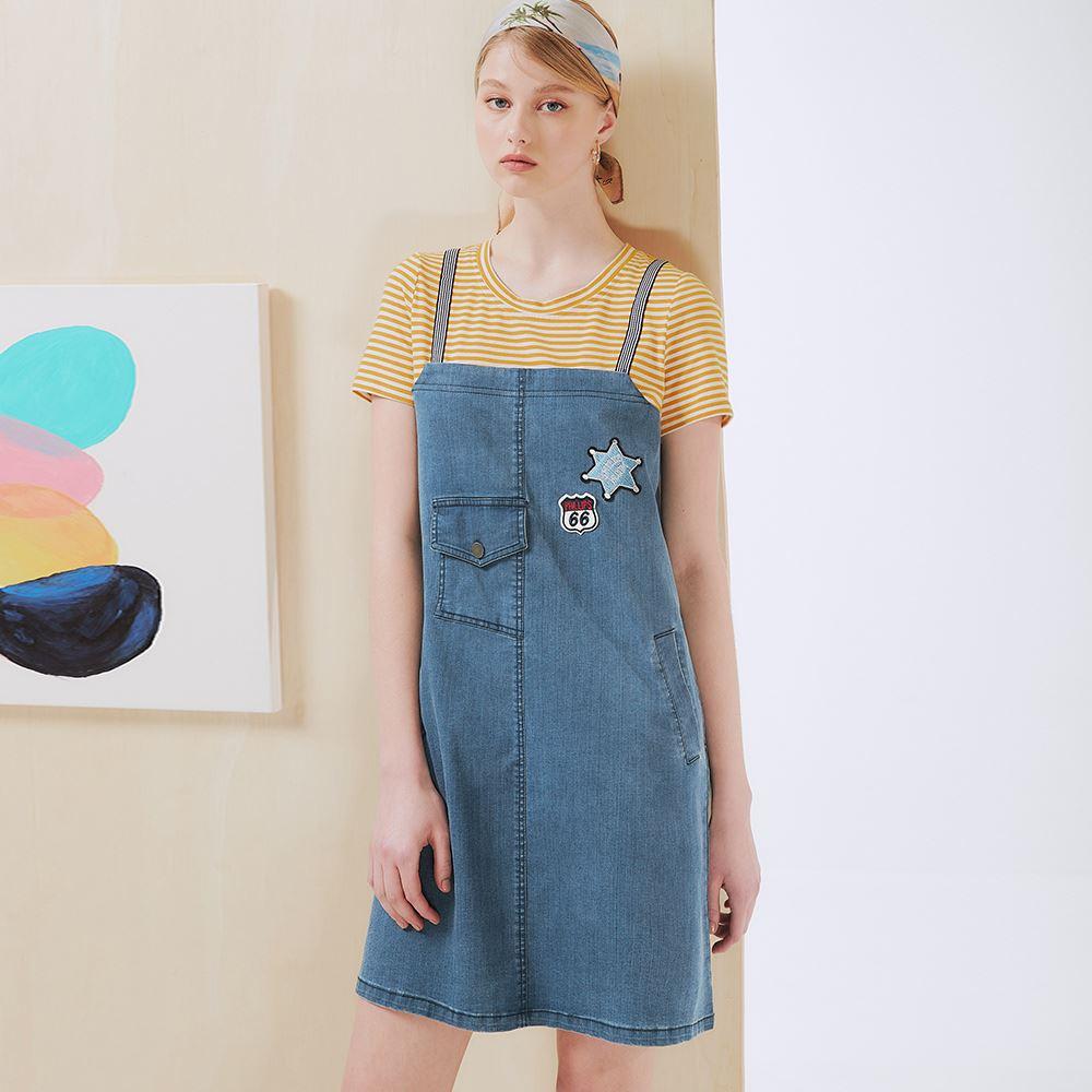 OUWEY歐薇 假兩件童趣吊帶條紋拼接牛仔裙(藍)3212028729