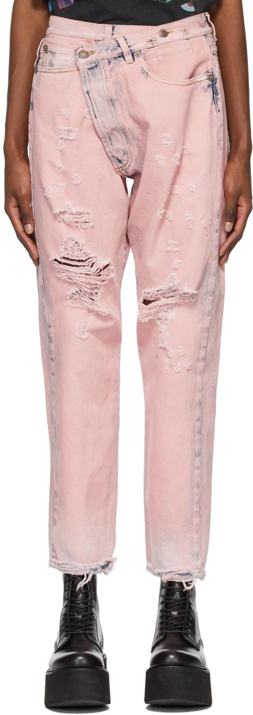 R13 粉色 Crossover 牛仔裤