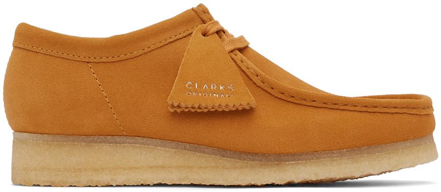 Clarks Originals 橙色 Wallabee 绒面革莫卡辛鞋