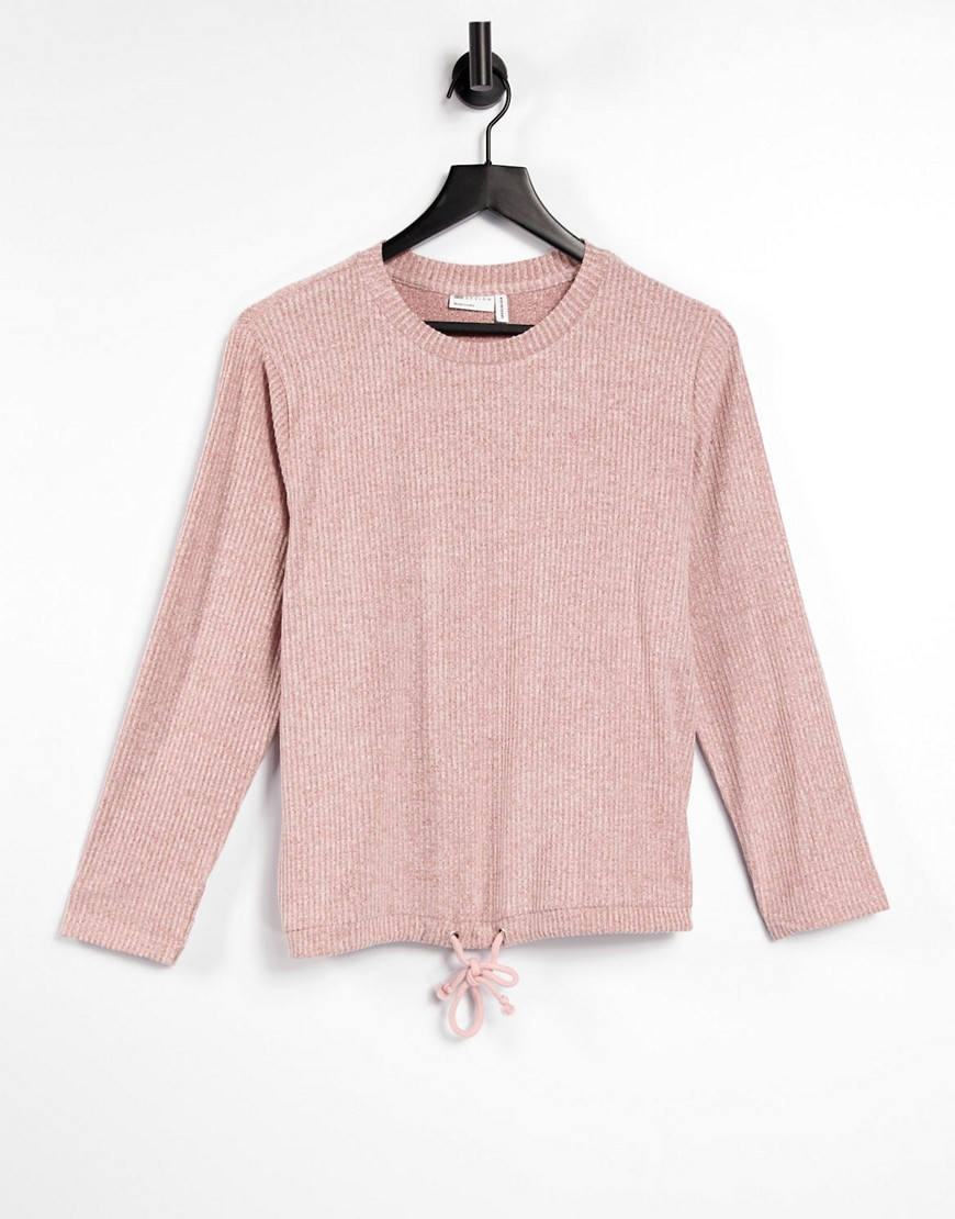 ASOS DESIGN mix & match lounge super soft rib sweat with channelling in dusky pink-Red