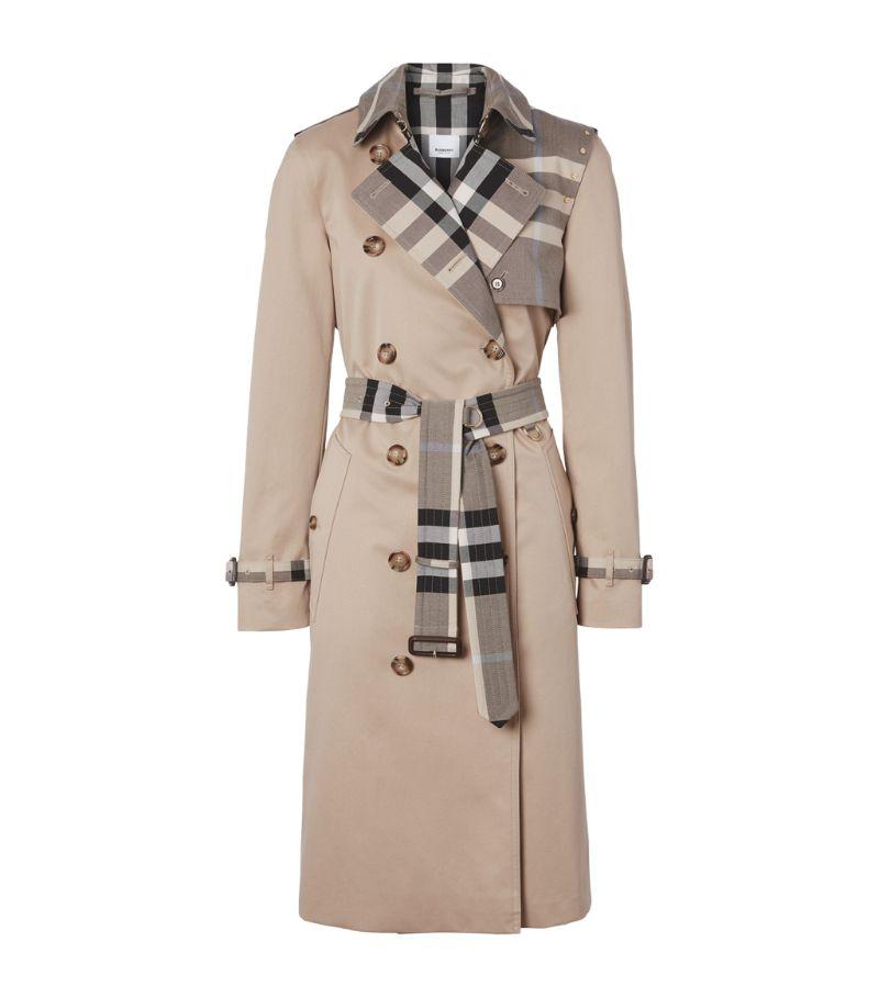 Burberry Check Gabardine Trench Coat