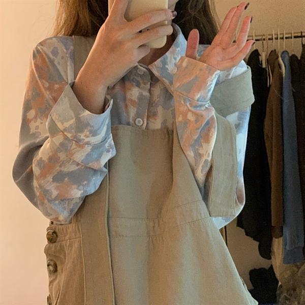 花襯衫 設計感小眾花襯衫女早春2021新款扎染長袖襯衣復古學生寬鬆上衣潮 嬡孕哺