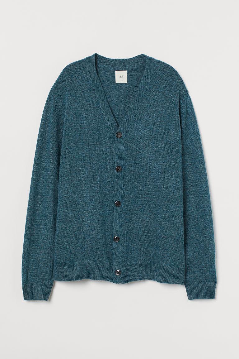H & M - 羊毛混紡開襟衫 - 綠色
