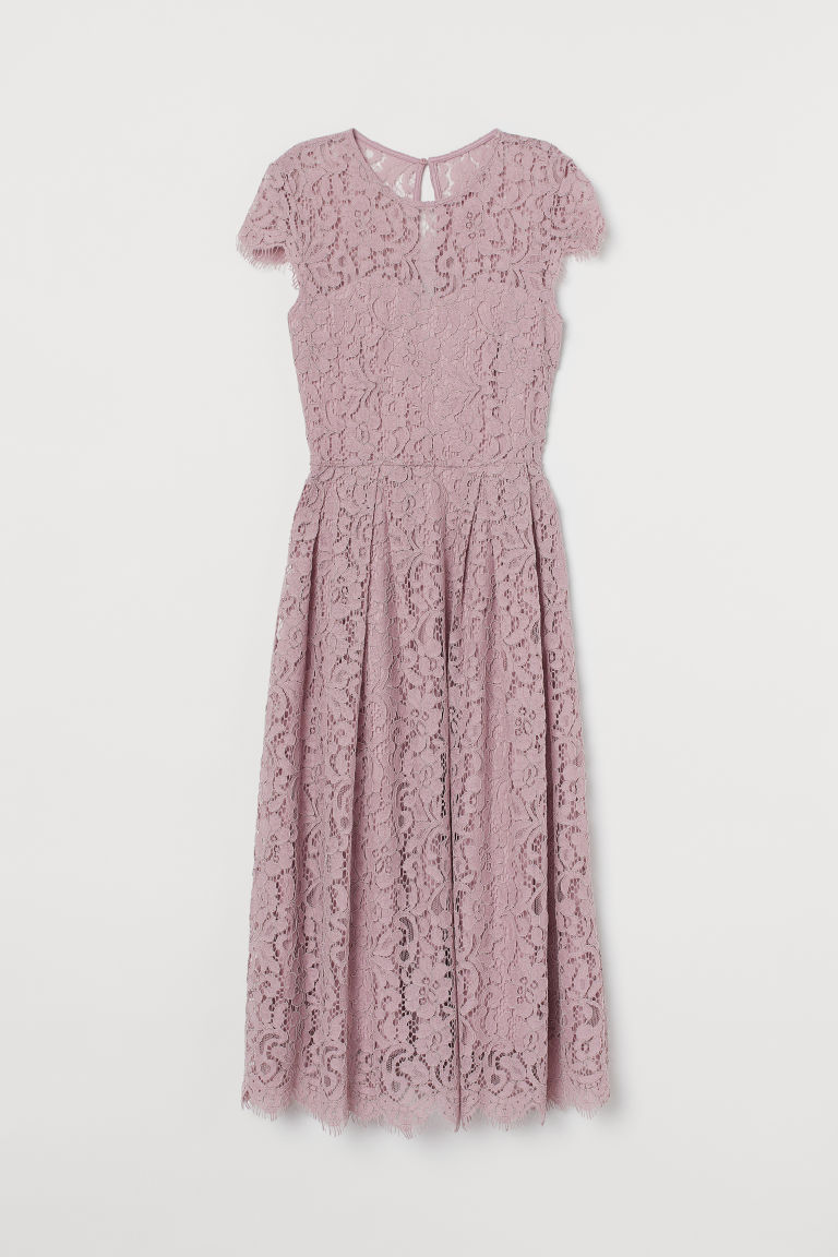 H & M - 中長版蕾絲洋裝 - 粉紅色