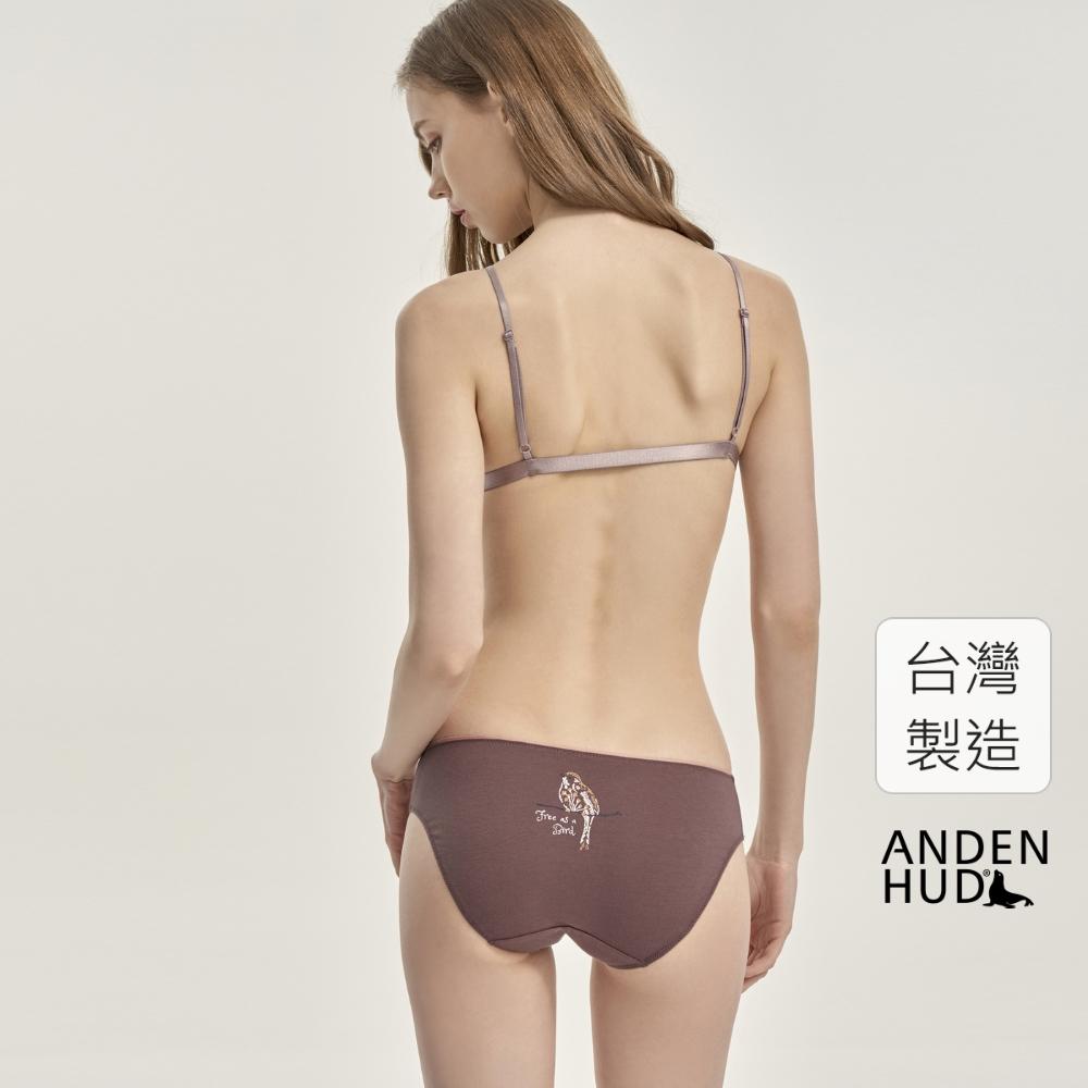 【Anden Hud】花拼鳥語.內襯緊帶包邊中腰三角內褲(椰褐-花拼鳥語) 台灣製
