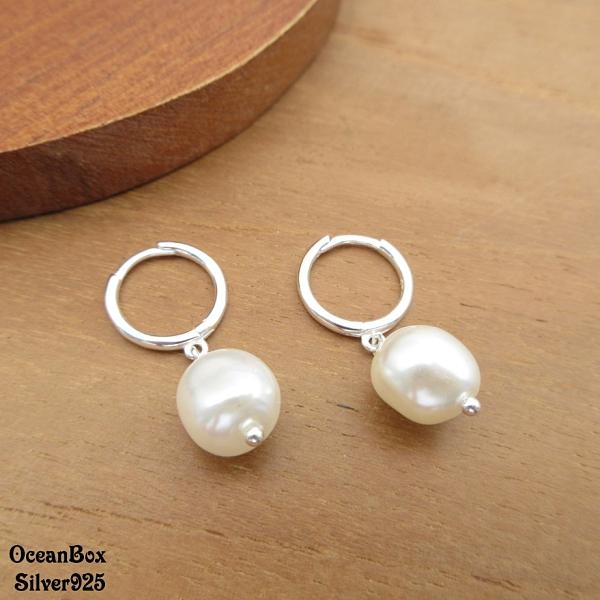 §海洋盒子§簡約時尚天然淡水珍珠針式易扣925純銀耳環.圈圈耳環