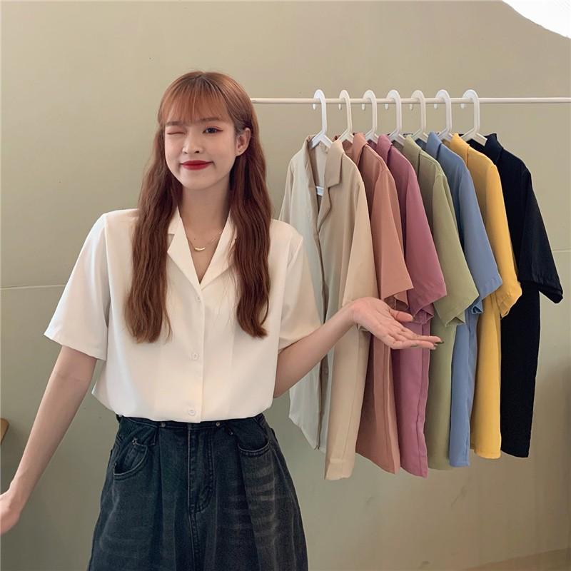 糖果色襯衣 韓版西裝領襯衫 慵懶寬鬆外穿雪紡襯衫 百搭短袖襯衫8色