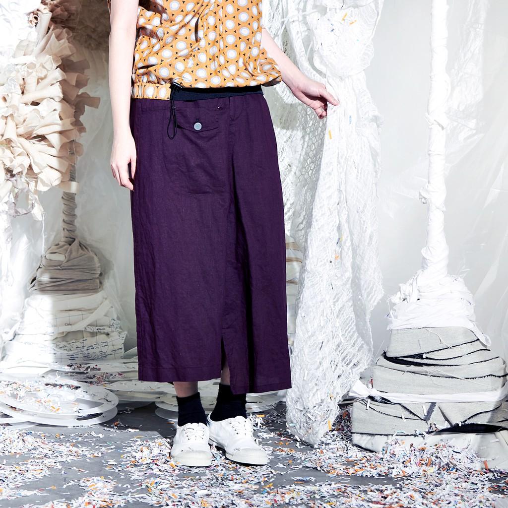 個性高低差寬管低檔棉麻裙褲 兩色