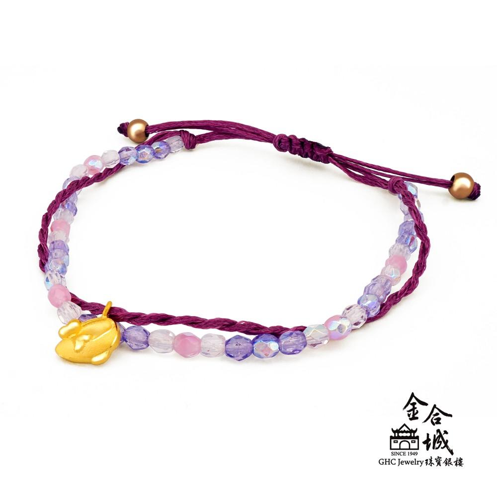 【迪士尼金飾】米妮鞋子編織手環(金重約0.18錢)