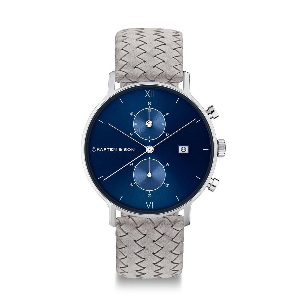 CHRONO計時系列藍色錶盤編織手錶(灰)