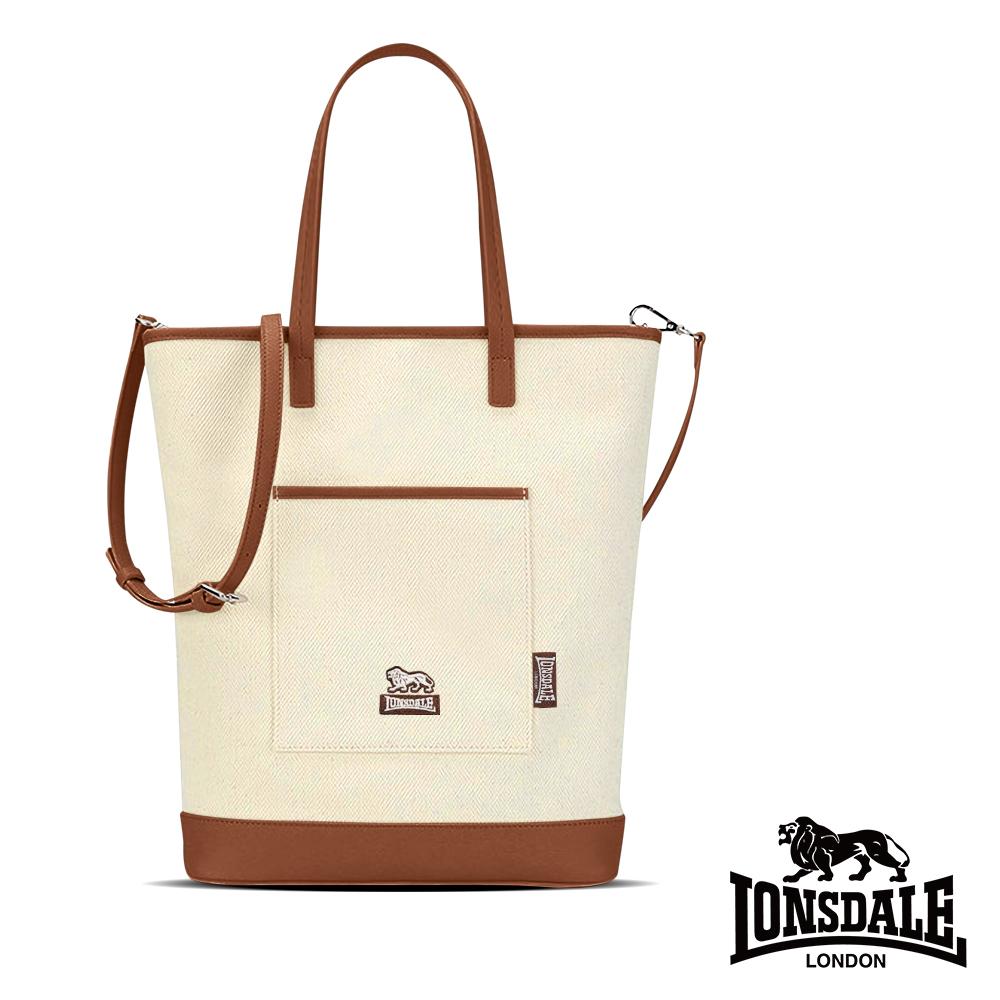 【LONSDALE 英國小獅】帆布皮革飾邊手提/肩背包 LD1326-咖啡棕
