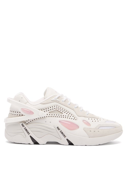 Raf Simons - Cylon 21 Pu, Leather And Suede Trainers - Mens - White