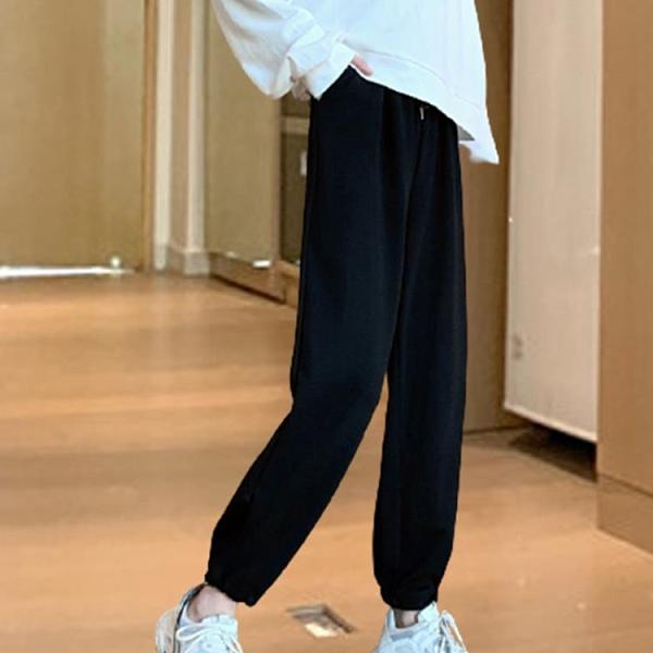 【Charm Beauty】灰色 運動褲 女春夏裝 2021年 新款 寬鬆 束腳 顯瘦 休閑 百搭 直筒 燈籠 衛褲