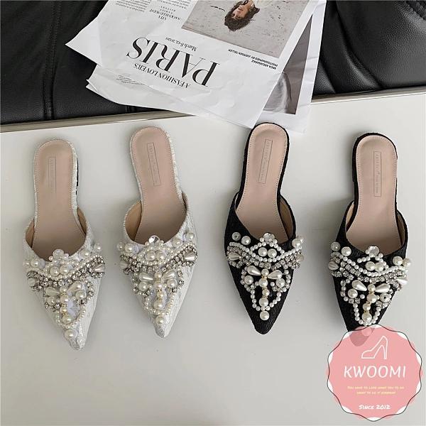 穆勒鞋 華麗蕾絲珍珠點綴尖頭 涼鞋 拖鞋*KWOOMI-A45