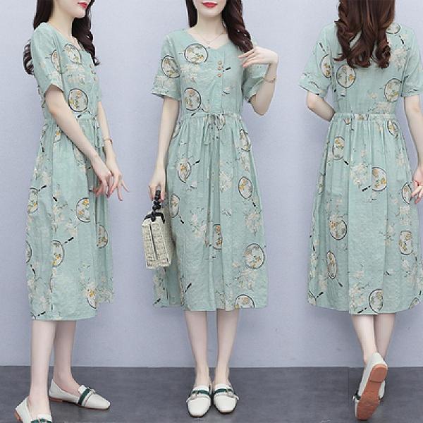 雪紡長洋裝M-3XL棉麻連身裙夏天薄款新款洋氣抽繩收腰顯瘦有口袋的印花長裙子NB13韓衣裳