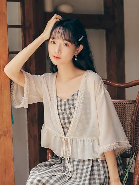 防曬衣2021新款外搭小開衫女薄款雪紡罩衫披肩夏季配裙子吊帶外套 伊蘿