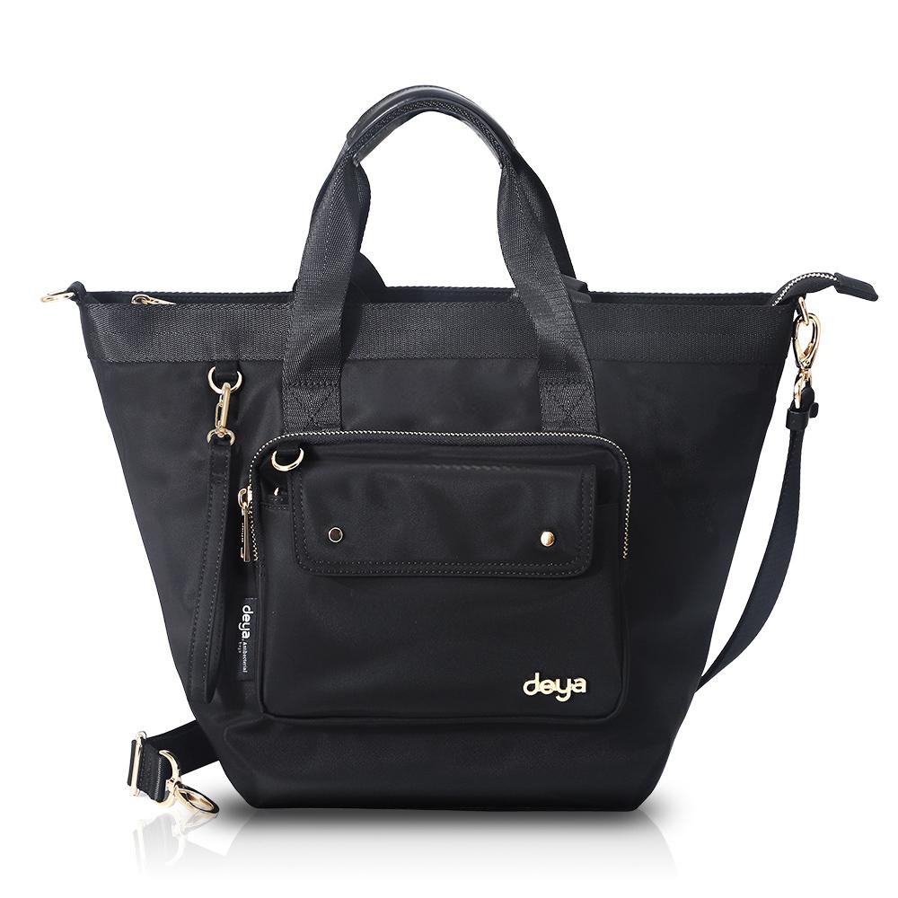 (新品預購-買就送$1680小包-限量50組-活動至4/20日止) deya chic系列 渾然經典-小托特子母三用包(M) -黑色
