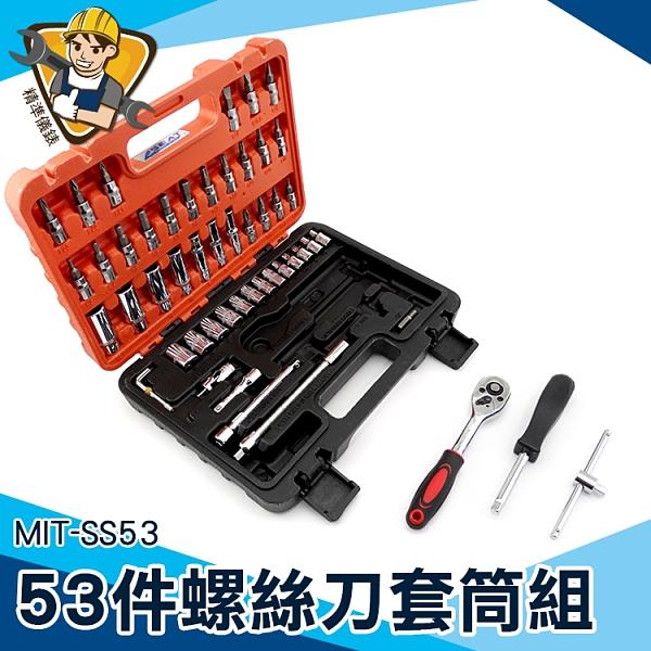 套筒組 精密起子組 星型棘輪扳手 1/4公制套筒 板手 螺絲起子 MIT-SS53 手提儀器箱