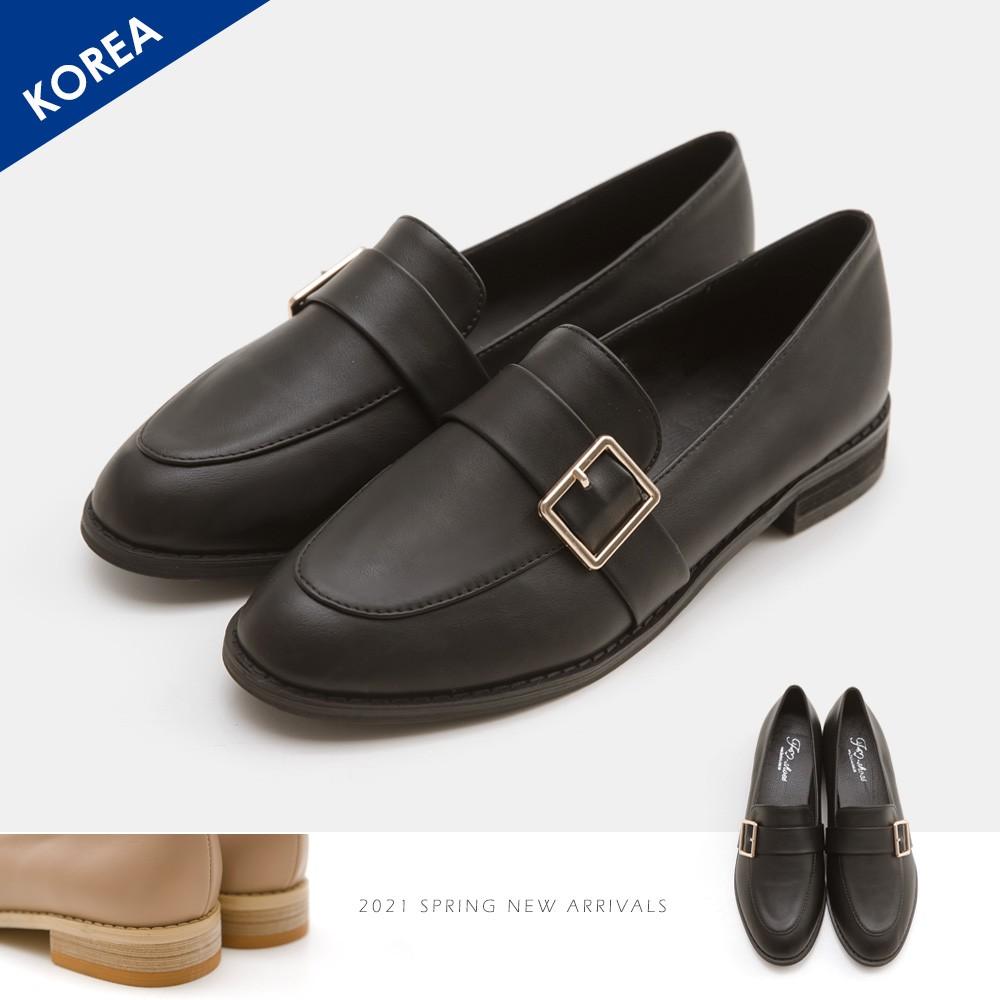 FMSHOES 韓-側扣環木跟紳士鞋(黑) -大尺碼 - 20008110