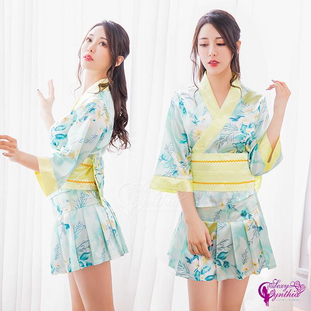 【Sexy Cynthia】角色扮演 漾彩繽紛水綠三件式改良版日式和服角色服