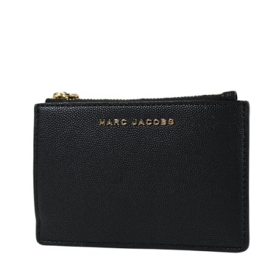 MARC JACOBS 魚子醬皮革證件套/拉鍊零錢包-黑色