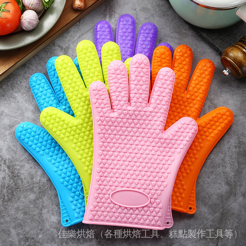 隔熱手套 防燙手套 烘焙手套 耐熱手套 矽膠手套 家用烤箱微波爐烘焙防滑防燙五指隔熱硅膠加厚手套不加棉廚房 cHiW