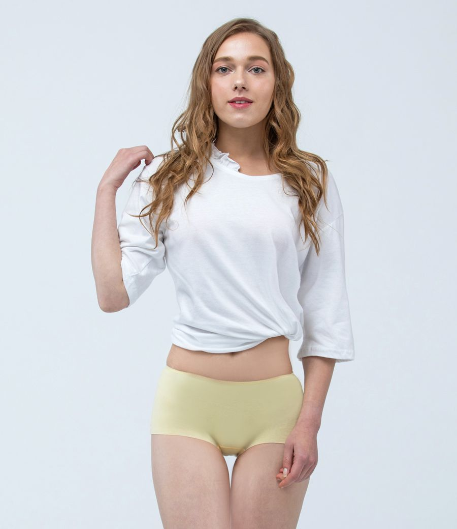 [S號]Pure5.5-包臀低腰女無痕平口褲-淡淺黃-S