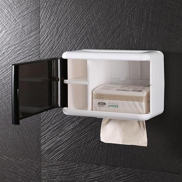 紙巾架 衛生紙盒衛生間紙巾盒置物架廁所家用免打孔防水創意廁紙抽紙卷紙