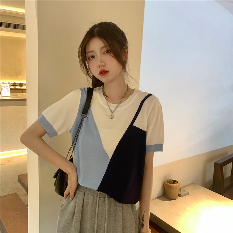 IELGY 夏季韓版2021新款設計感假兩件撞色寬松外穿炸街短袖針織衫上衣